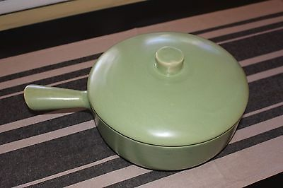Large Vintage La Solana Arizona Pottery Handle Oven Lid Green Casserole Bean