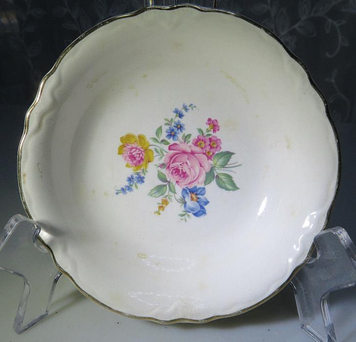 VINTAGE PORCELAIN SMALL BOWL OR ASHTRAY NO MARK ROSES AND FLOWERS 5