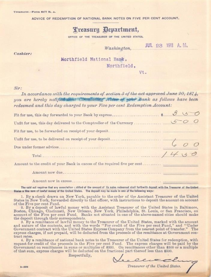 UNITED STATES TREASURY DEPT~NORTHFIELD VT NATIONAL BANK~REDEMPTION ACCOUNT 1911