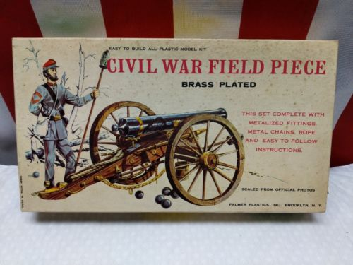 Vintage Civil War Field Piece Cannon, Plastic Model Kit, 84 Pieces,Palmer, 1960s