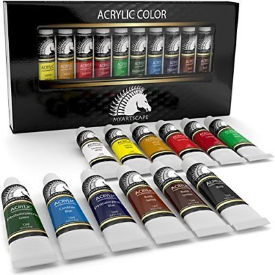 Acrylic Paint Set Artist Quality Paints for Painting Canvas Wood Clay Fabric Art