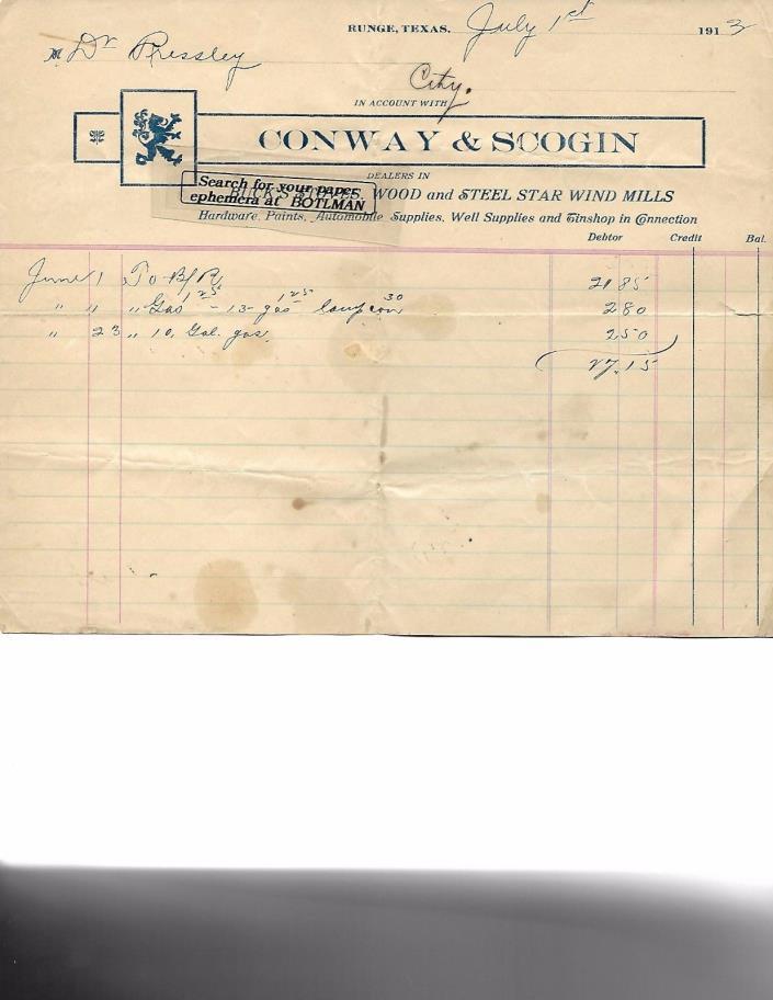 Pair Billhead Conway & Scogin Runge TX Texas Star Wind Mills Buck's Stoves 1913