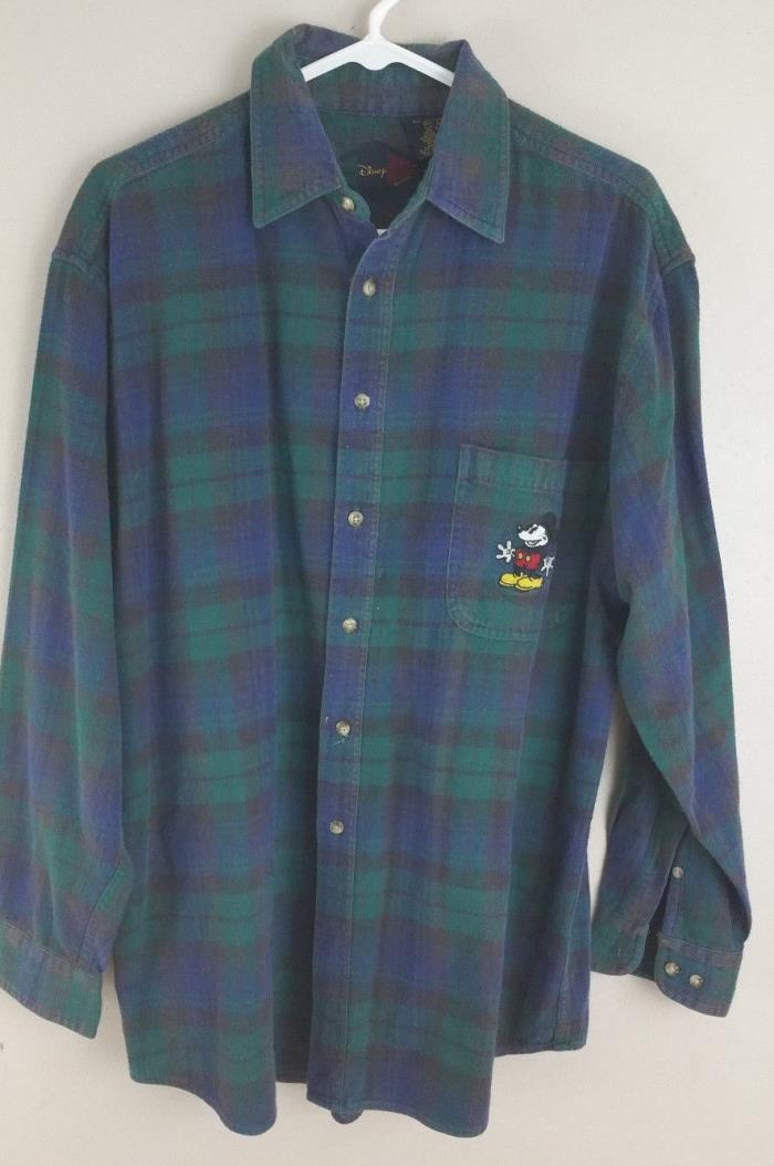 Vintage Disney Catalog Mens Long Sleeve Flannel Shirt Mickey Mouse size Large