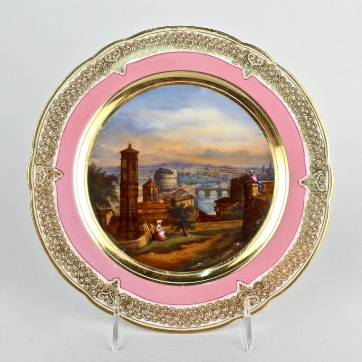 Antique Pink Hand Painted Topographical Old Paris Porcelain Plate - Rome View PC