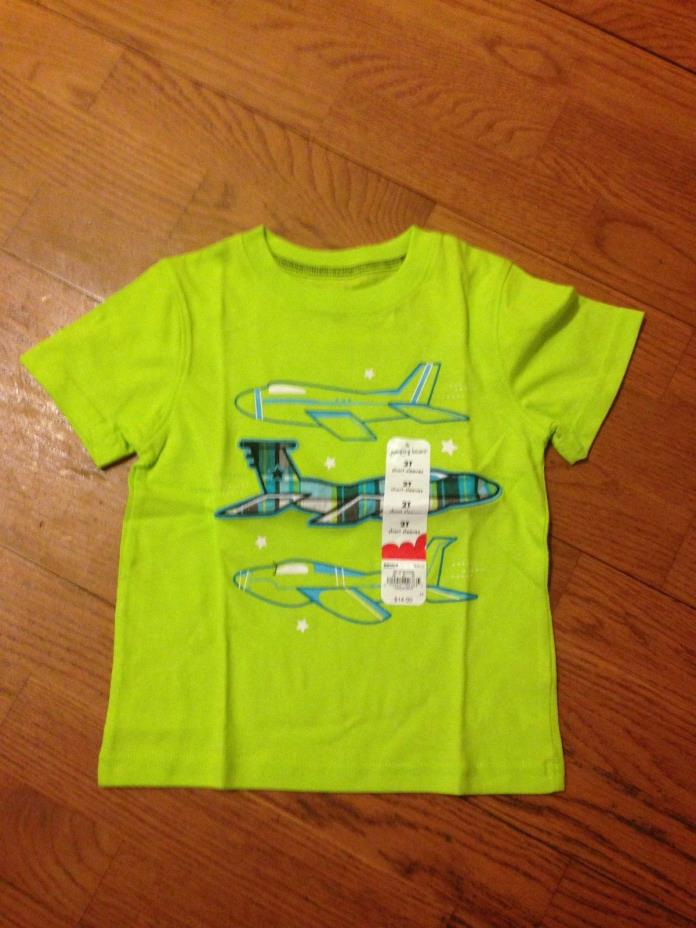 Toddler Boys Jumping Beans Lime Green Top Size 2T with Airplanes