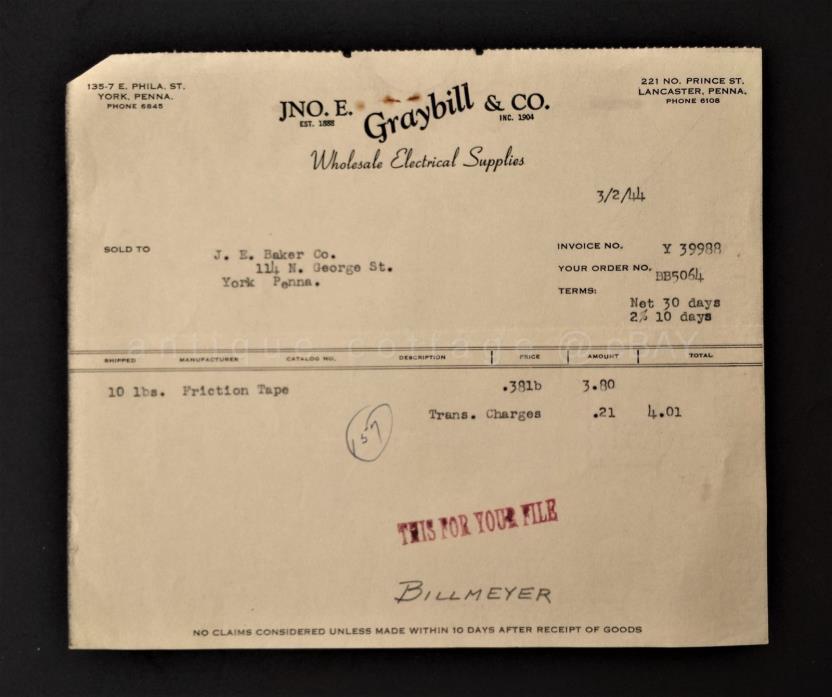 1944 antique JNO. E. GRAYBILL ELECTRIC SUPPLIES RECEIPT york pa J E BAKER