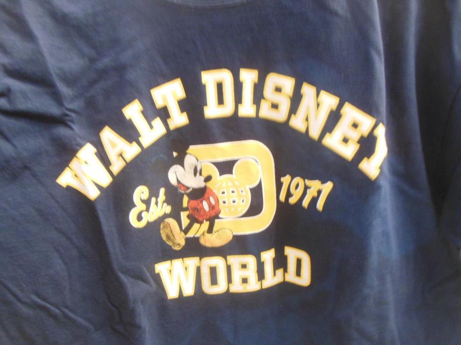 ************  Walt Disney World Men's Mickey Mouse T Shirt Large 1971 Blue