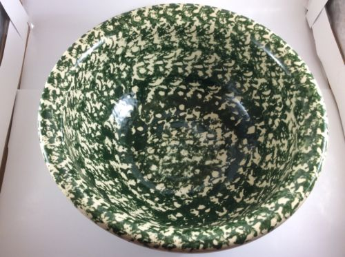 Vintage Large Green Spongeware Bowl With Painted Flower Design No Mark