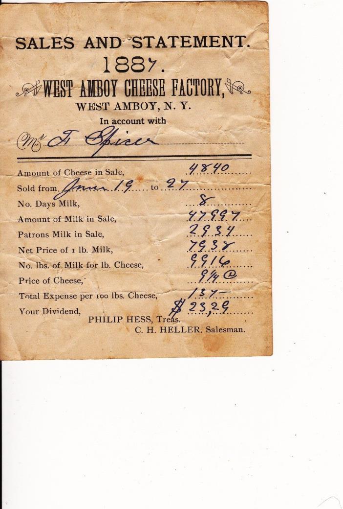 West Amboy, New York . West Amboy Cheese Factory . 1887 Receipt . Oswego County