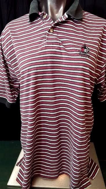 Disney mens polo shirt Golf Collection short sleeves red black striped logo M