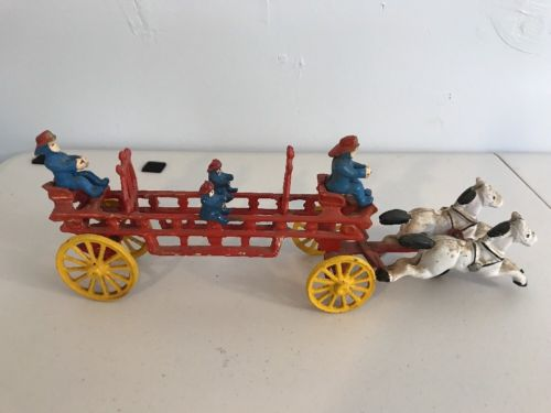 Cast Iron Fireman Horse And Buggy With Horses And Fireman Figurines Vintage