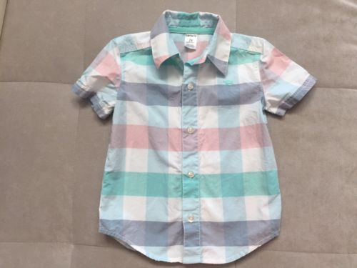 Carters Boys Dress Shirt Size 2 Toddler Blue Green  Pink