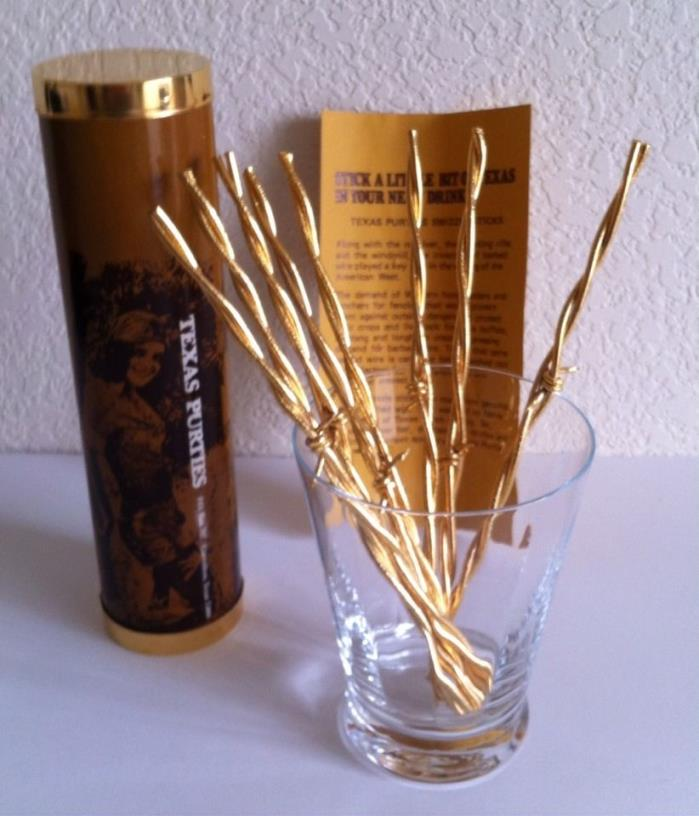 TEXAS PURTIES 24K Gold Plate Barbed Wire Swizzle Sticks