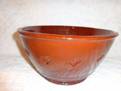 Large Foltz Pottery Redware Mixing Bowl with Heart Shaped Surround Design, 1983
