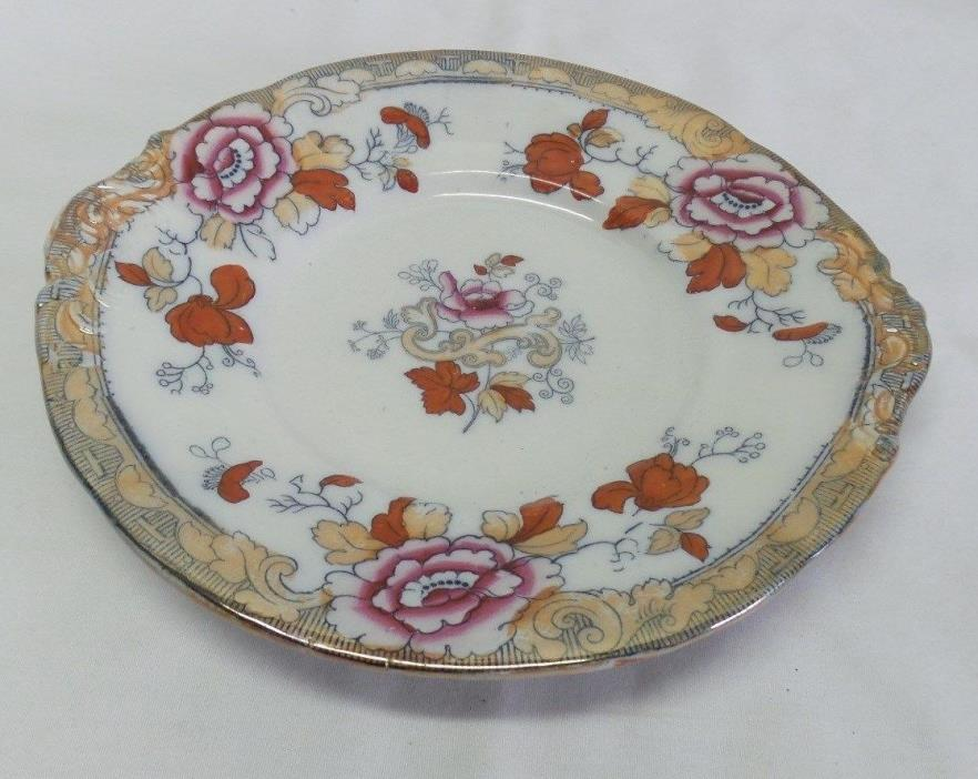 Antique Pinder & Bourne Co Burslem England Lusterware Flowers Plate
