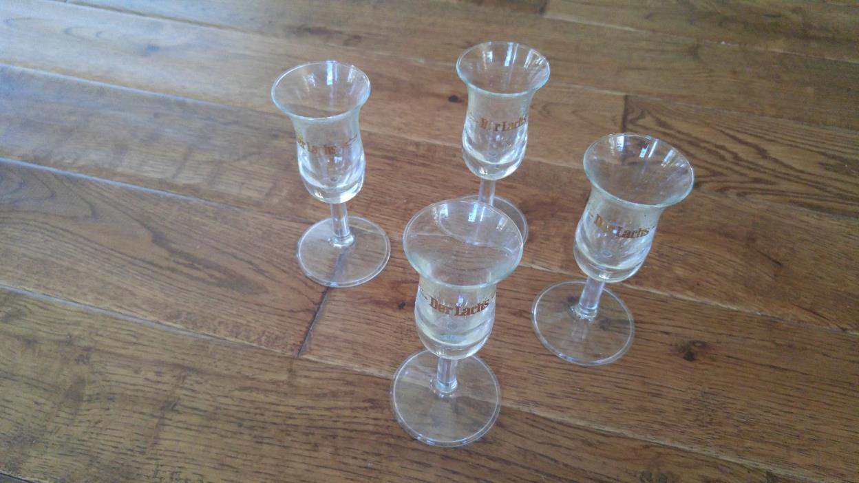 LOT OF 4 DER LACHS The Salmon Pedestal Stem Shot Glasses Cordial Liqueur Germany