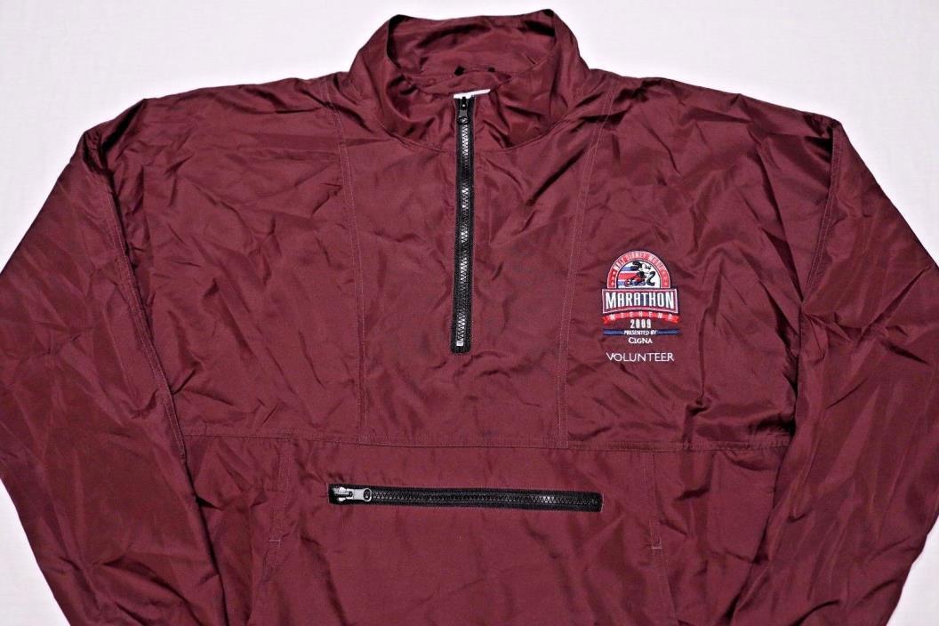 Walt Disney World 2009 Marathon Volunteer Rain Pullover Jacket Maroon Large L