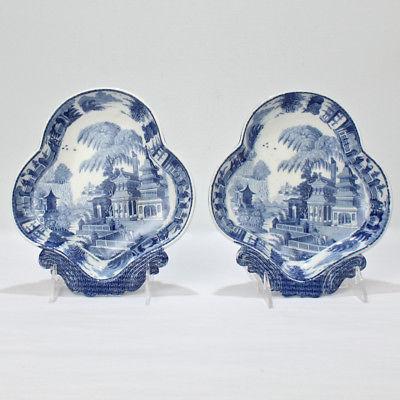 Pair Early 19 Century Soft-Paste Porcelain Blue Transferware Shrimp Dishes - PC