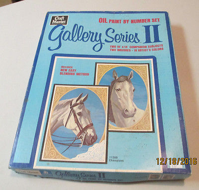 Vintage 1971 CraftMaster OIL PAINT BY NUMBER SET Gallery Series II HORSES
