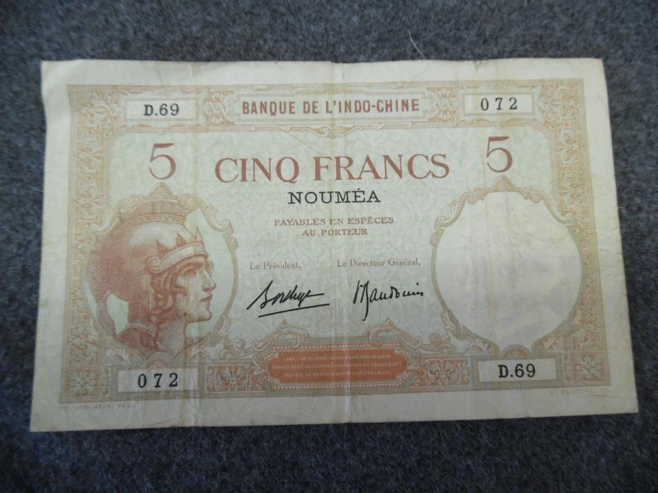 5 FRANCS BANQUE DE L'INDO-CHINE NOUMEA CIRCULATED
