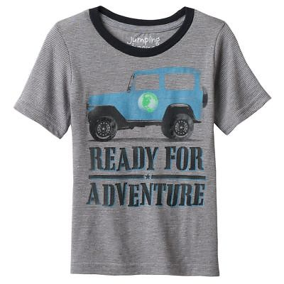 Boys 4T Gray Striped T-Shirt NWT JEEP Adventure Travel Short Sleeve Jumping Bean
