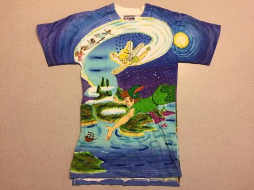 Vintage Disney JouJou Sequins Peter Pan T-shirt Beaded S/S Medium Small VV33