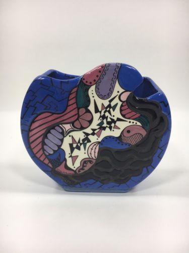 Modern Studio Art Pottery Vase Roger McAndrews Blue Abstract Geometric