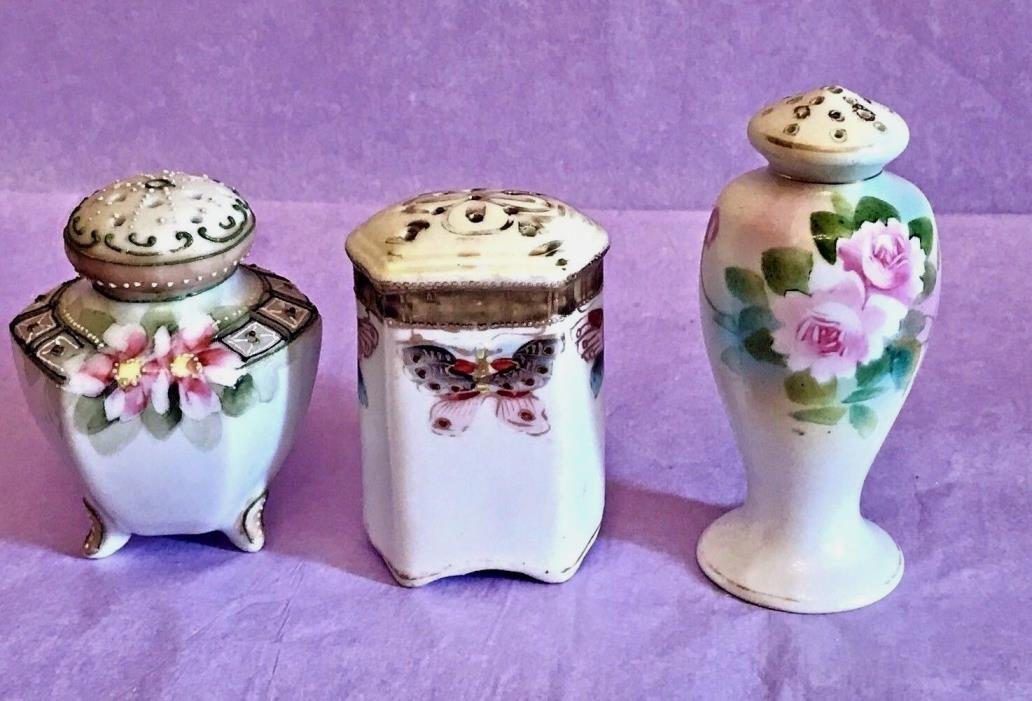 LOT -  Salt Shakers - Marked Nippon - Imperial - Moriage - Butterflies - Floral