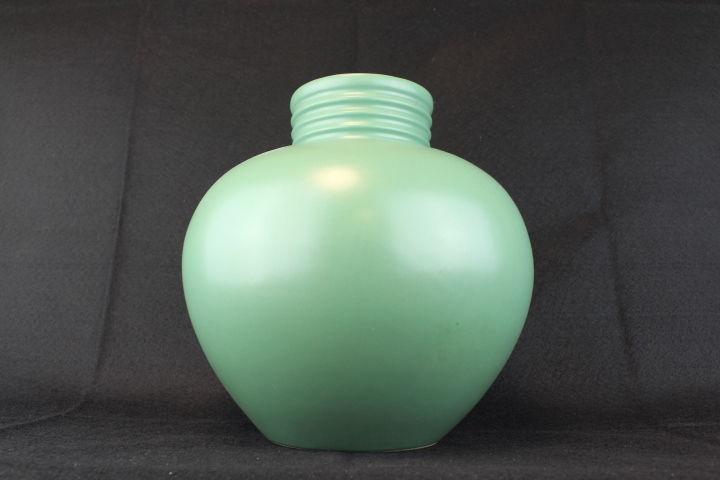 Vintage Large Round Matte Green Ceramic Vase