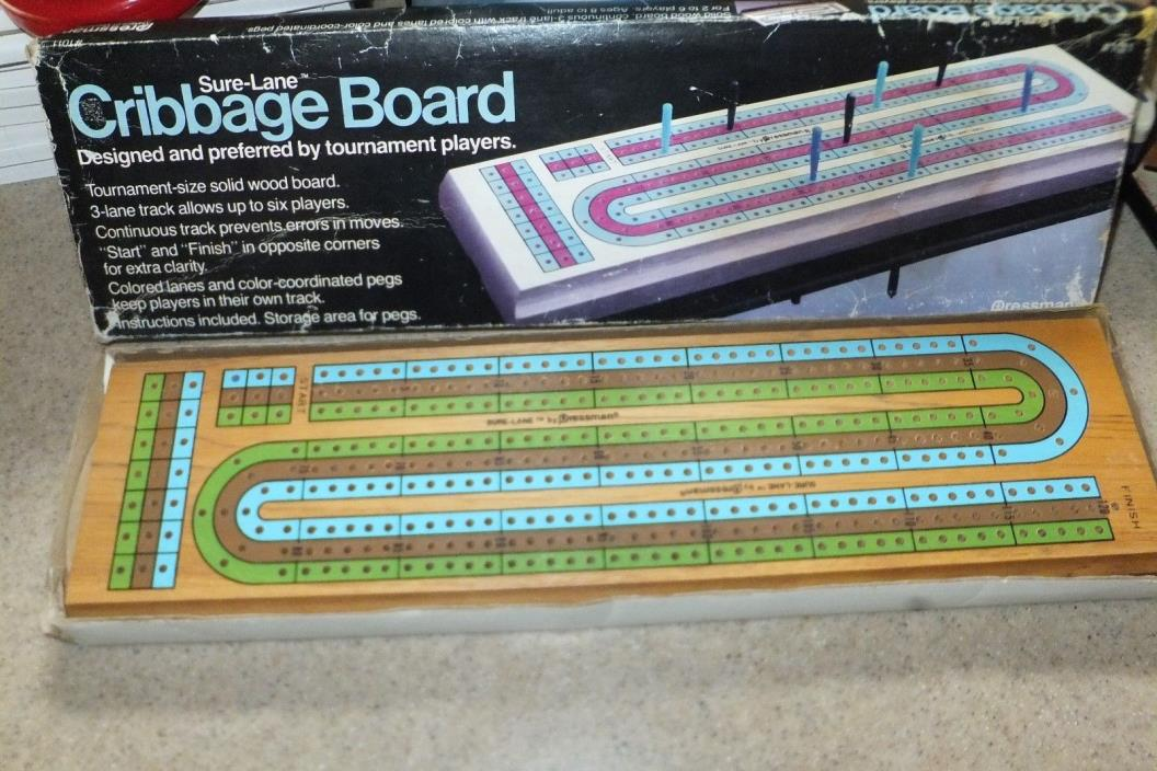 Pressman #1011 Sure-Lane Wood 3 Lane Cribbage Board 14x4 New w/Box