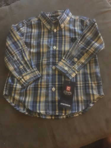 24 Months Chaps Button Down Dressy Sportswear- Blue and Yellow - plaid