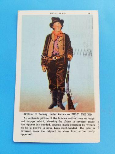 Vintage Postcard William H Bonney Billy the Kid - Linen 1947