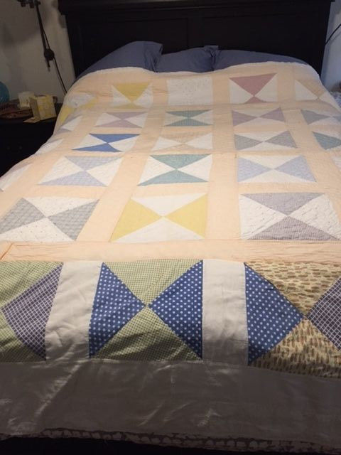 Antique Handmade Bowtie Cotton Quilt