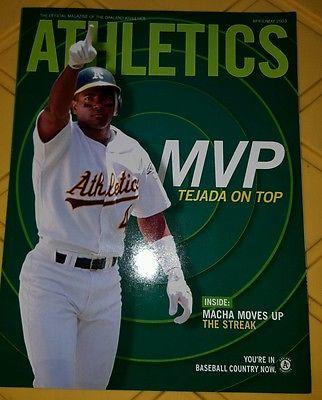 2003 Oakland ATHLETIC's Scorecard A'S Magazine Miguel Tejada & Barry Zito