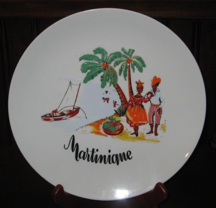 MARTINIQUE  Porcelain Plate By Les Porcelaine Carribean Scene 9