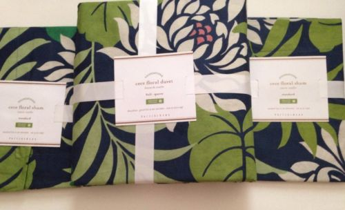 NWT Pottery Barn CeCe Floral FULL/QUEEN Organic Cotton Duvet & 2 STANDARD Shams