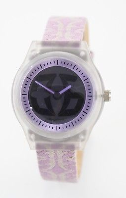 Fossil Watch Unisex Big Tic Clear Plastic Battery Lavender Water Resist Quartz