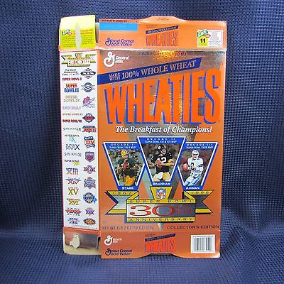 Wheaties NFL Super Bowl 30th Ann.Starr, Bradshaw, Aikman Cereal Box 1996
