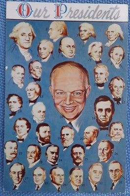 Postcard of Our Presidents up through Eisenhower - 1954