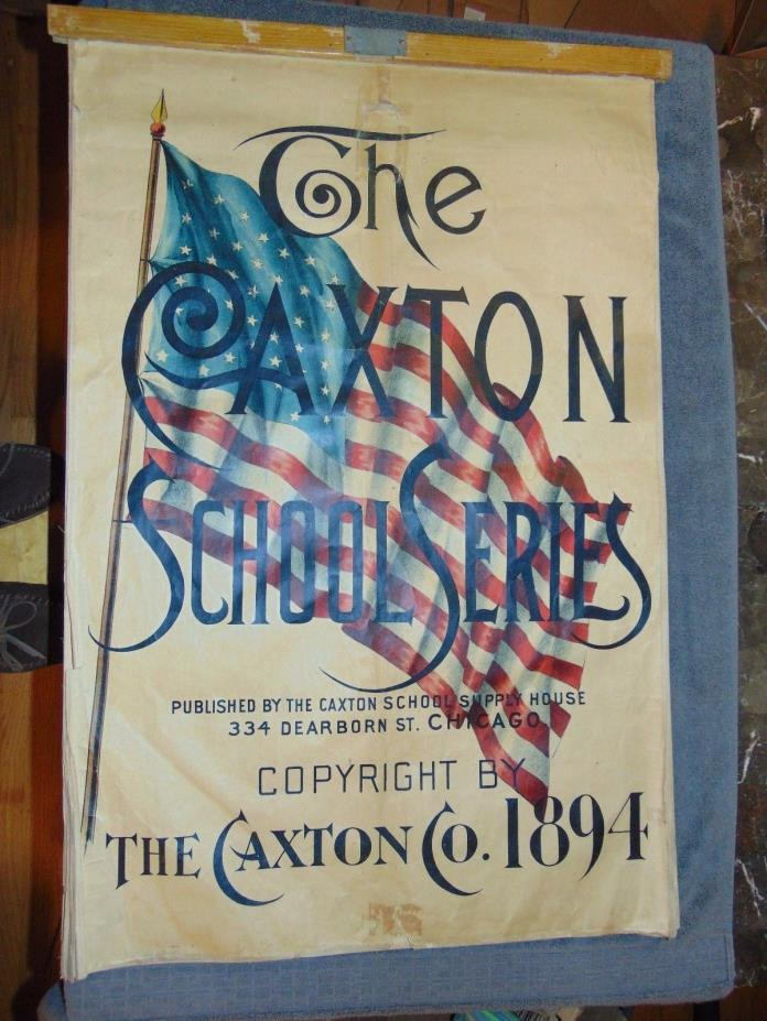 1894 CAXTON SCHOOL SERIES LEARNING CHARTS: ANATOMY, PHYSIOLOGY, GEOGRAPHY MAPS