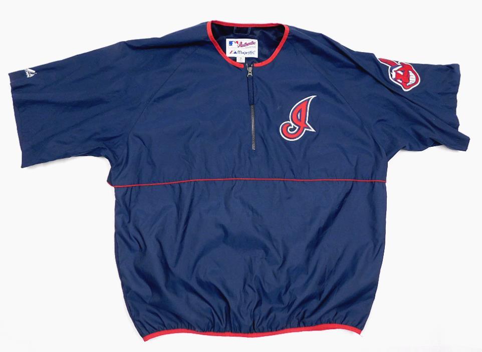 Vintage  MAJESTIC Cleveland Indians Pullover Windbreaker Jacket XL 1/2 Zipper
