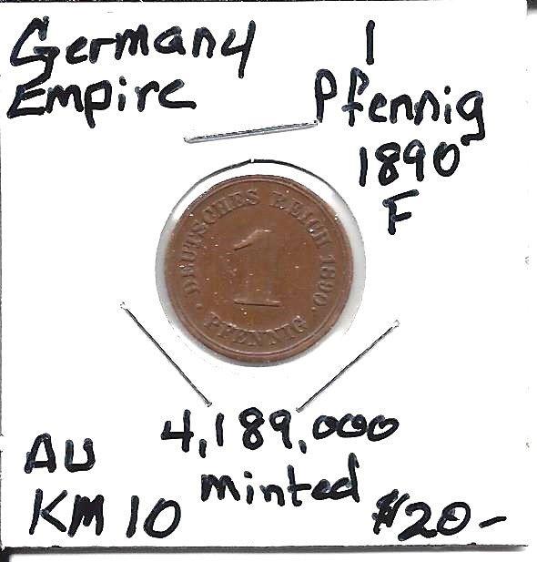 German Empire KM10 1890 F (Stuttgart) 1 Pfennig AUNC!