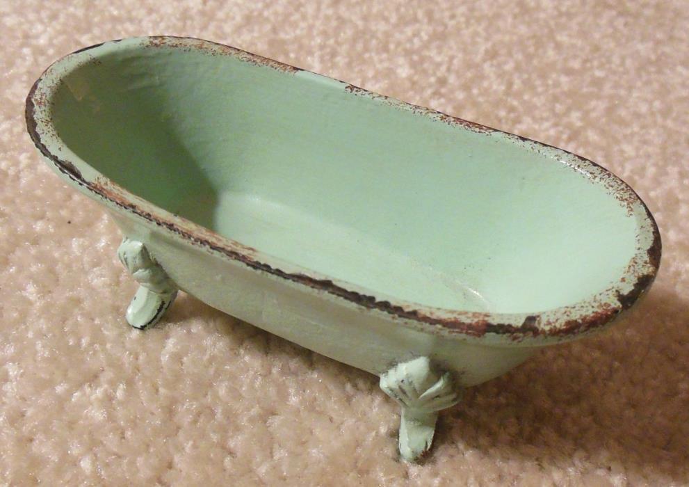 Antique Cast Iron CLAW FOOT BATHTUB Mint Green Toy Doll House Bathroom Furniture