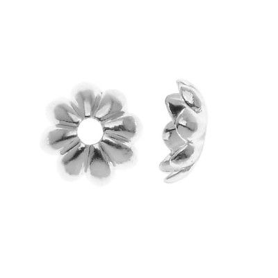 Bright Silver Plated Small Flower Bead Caps 6mm (12)