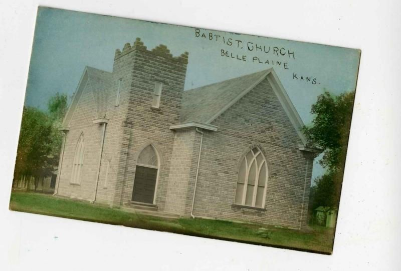 antique POSTCARD rppc BAPTIST CHURCH BELLE PLAINE KS