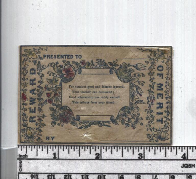 Antique Reward of Merit - Hand Colored Floral Design with Poetic Verse