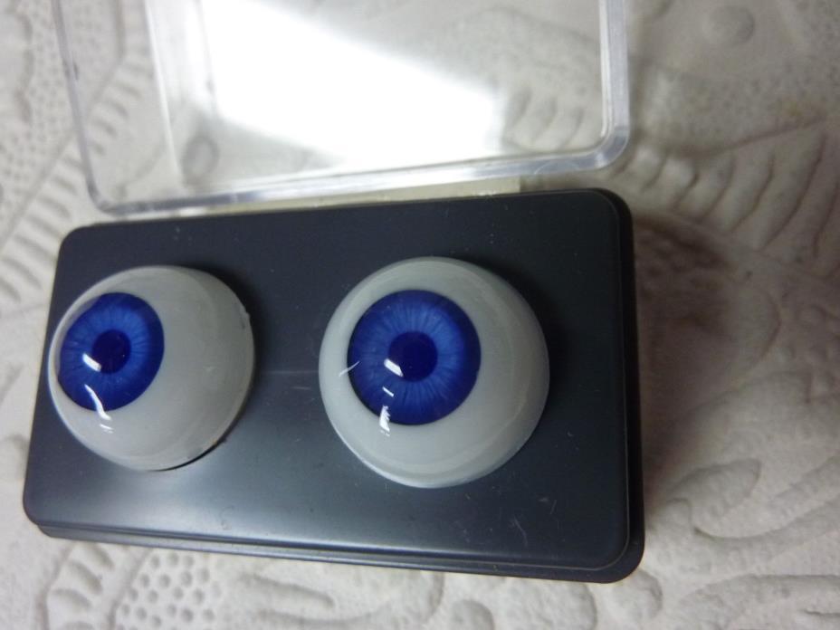 Glastic round acrylic  doll eyes Blue 18mm
