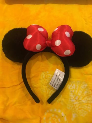 Disney Mickey Mouse Ears Black and polka dot red Authentic