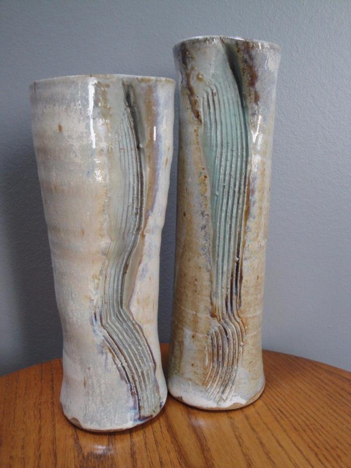 Pottery Studio Ceramic Glazed Pair of Vases Signed by Artist