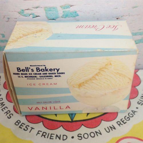 Vtg Bell's Bakery Vanilla Ice Cream Blue White Box NEW Deadstock Vintage 50s 60s